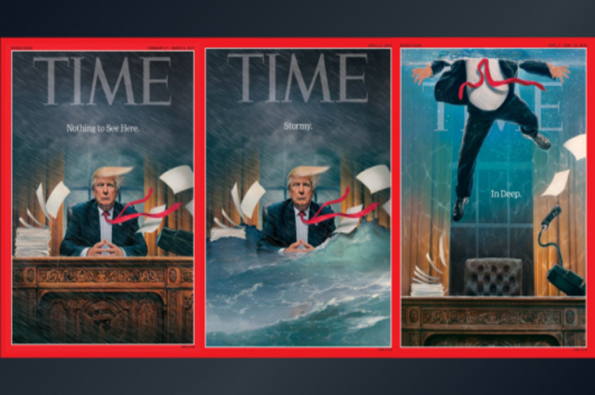 Judging Time By Its Covers: Cartoon, Scary Trump vs. Inspiring 2020 Dems