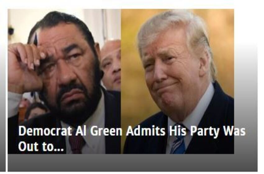 Democrat Al Green Admits His Party Was Out to Impeach Trump 'When He Was Running for Office'