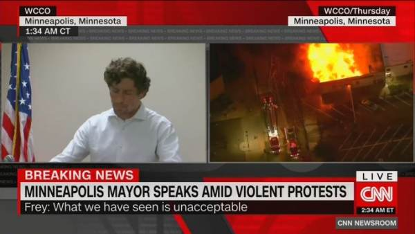 As Police Station Goes Up in Flames, Minneapolis Mayor Frey Accuses Trump of 'Weakness' in Response to President's Threat to Bring in National Guard to Stop Riots