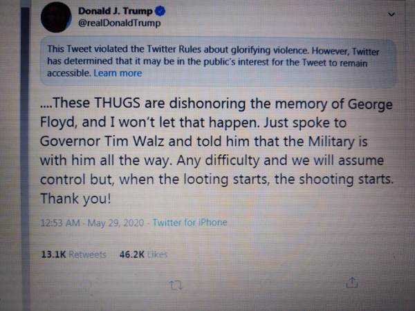 Twitter Censors, Limits President Trump Tweet Warning Minneapolis Looters About Getting Shot if He Has to Act to Save City