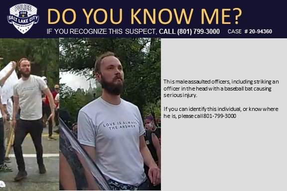 Salt Lake City Police Ask Public For Help Identifying Man Who Hit Officer in the Head with Baseball Bat