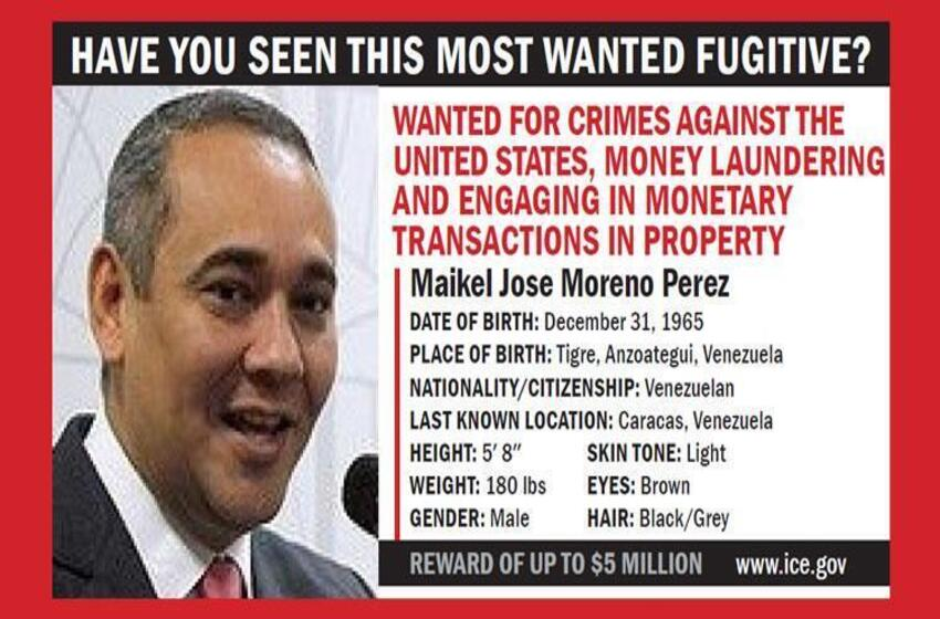 $5M reward offered for information leading to arrest, conviction of Venezuelan official investigated by ICE HSI