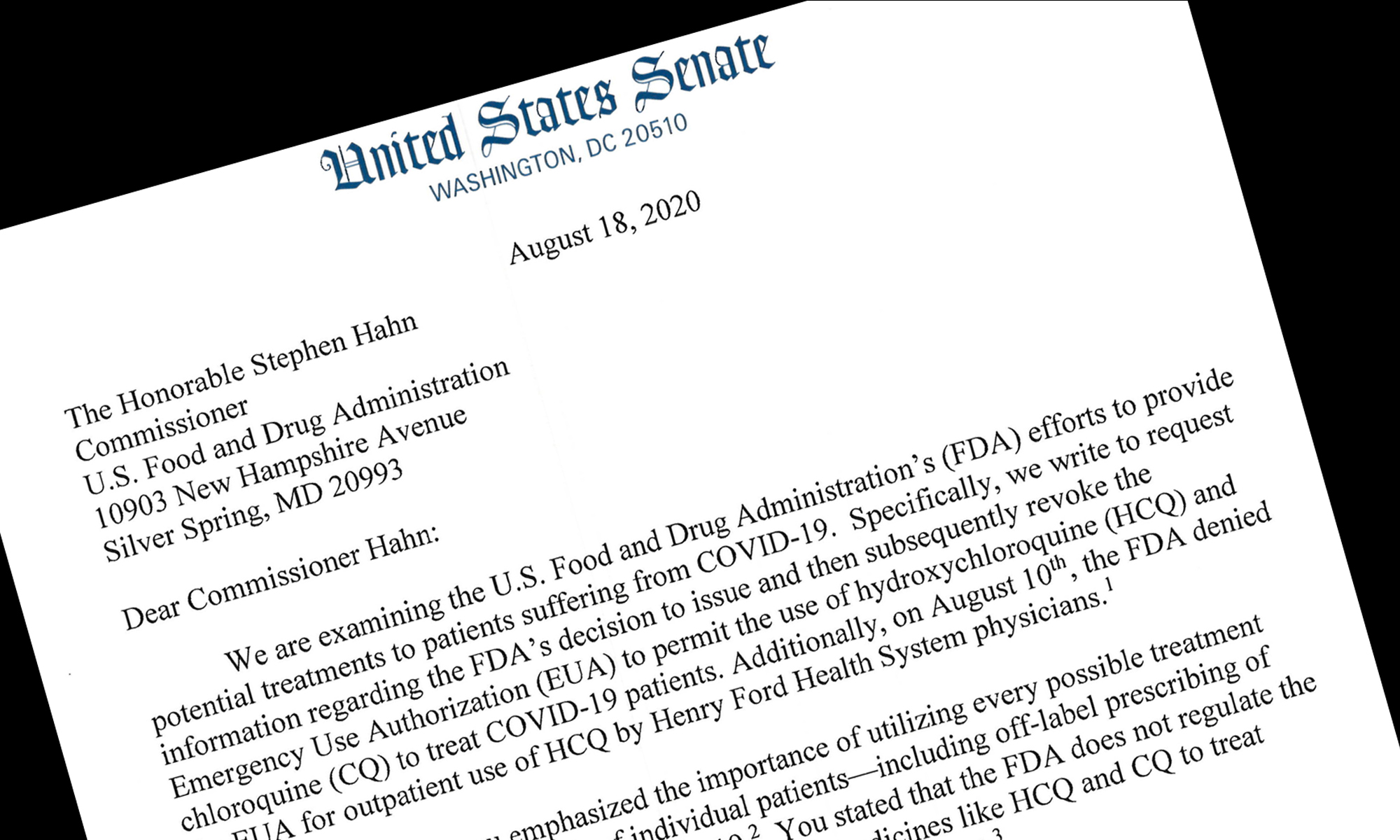 FDA in Hot Seat by Senators' Demands on HCQ and HHS Pulling Rank on Tests