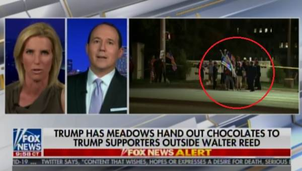 BEST PRESIDENT EVER! President Trump has Mark Meadows Hand Out Chocolates to Supporters Outside of Walter Reed! (VIDEO)