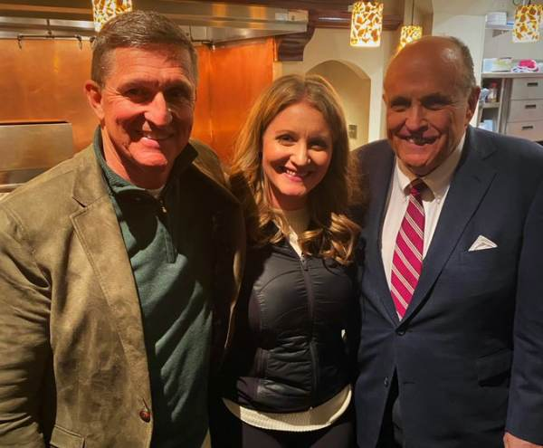 Why Are These People Smiling? Trump Attorney Jenna Ellis Posts Late Night Photo with Rudy Giuliani and Gen. Flynn