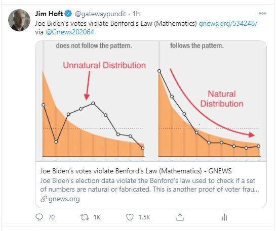 """UPDATE: Facebook and Twitter Suspend Accounts That Posted on Benford's Law Showing Biden's Implausible Vote Totals — LABELING IT """"SEXUAL EXPLOITATION"""""""