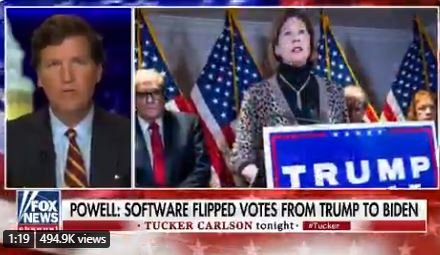 AWFUL. Tucker Carlson Doubles Down, Hits Sidney Powell and Says No Evidence of Switching Votes — HERE ARE 11 TIMES THEY GOT CAUGHT SWITCHING VOTES (Video)
