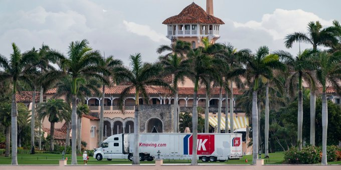 Moving Truck Seen Outside Mar-a-Lago in Florida