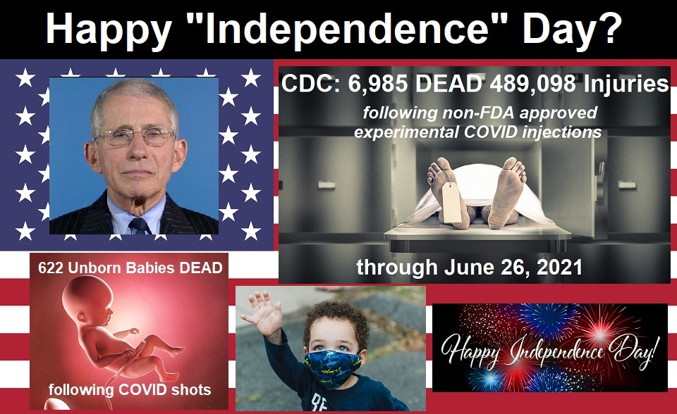 """Americans Will Celebrate """"Independence Day"""" as CDC Reveals Almost 7000 DEAD and Half a Million Injured Following COVID Injections?"""