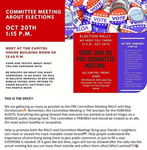 AUDIT UTAH: Patriots Organize Rally For a Full Forensic Audit At Committee Meeting WEDNESDAY AT UTAH CAPITOL!